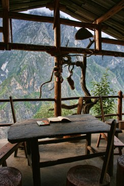 View of the Jade Dragon Snow Mountains from the veranda at the Halfway House