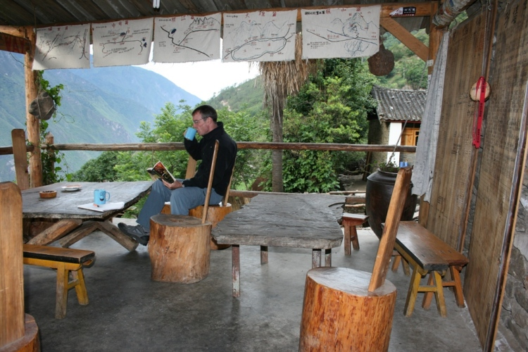 Bill enjoys coffee on the terrace at the Halfway House