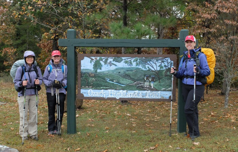 Day 1: Pam, Jan and Mary ready to depart the trailhead at Lake Fort Smith on Saturday, October 24