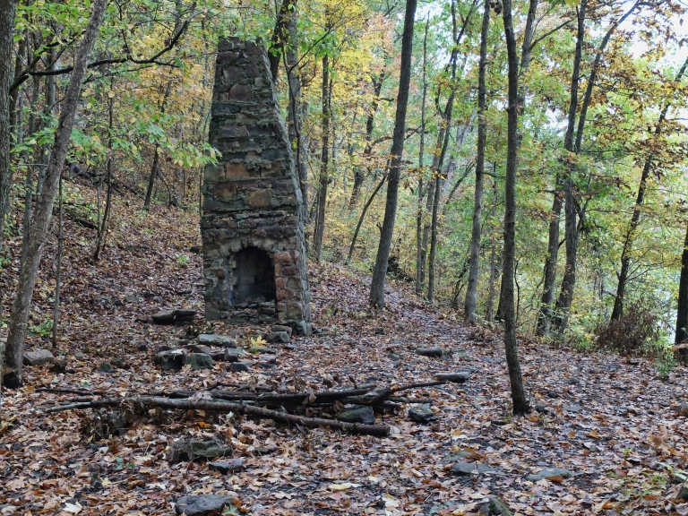 Chimney left standing at an old homesite on the shore of Lake Fort Smith