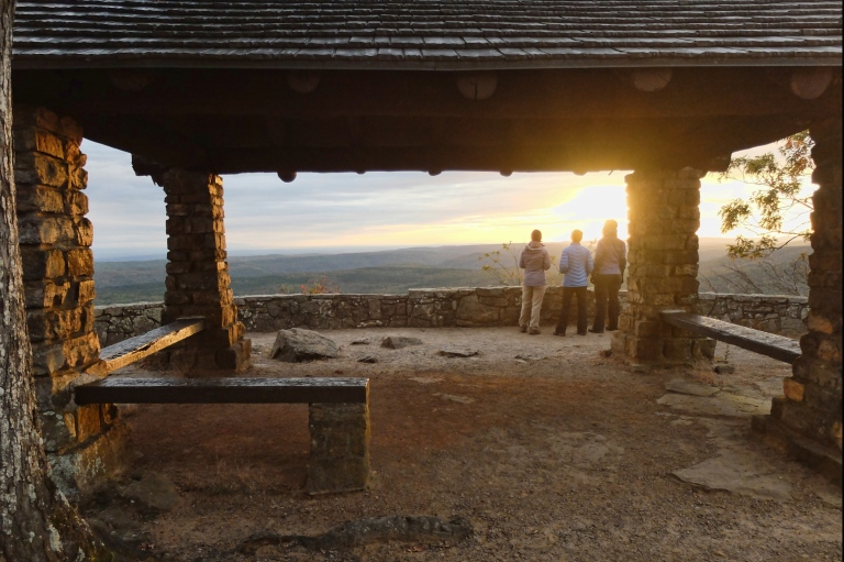 Pam, Jan and Mary watch the sunset from the Pavilion at White Rock Mountain