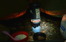 Cooking breakfast in my tent vestibule on a rainy morning