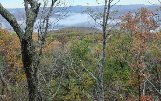 Clouds hang low in the valleys as we walk along Wolf Ridge