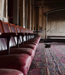Seats in a room of the Masonic Lodge on the top floor of the McCulloch Building (damaged by fire)