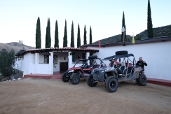 Our vehicles parked at the front of Mike's Sky Rancho. We were the only guests.