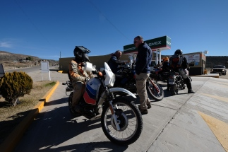 Bill chatting with one of a group of riders on vintage BMWs. We encountered the at a gas station north of Mike's Sky Rancho.